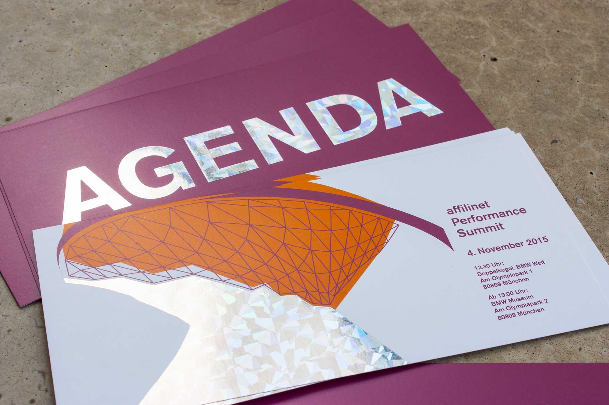 Einladung und Agenda affilinet Performance Summit mit Hologrammfolie