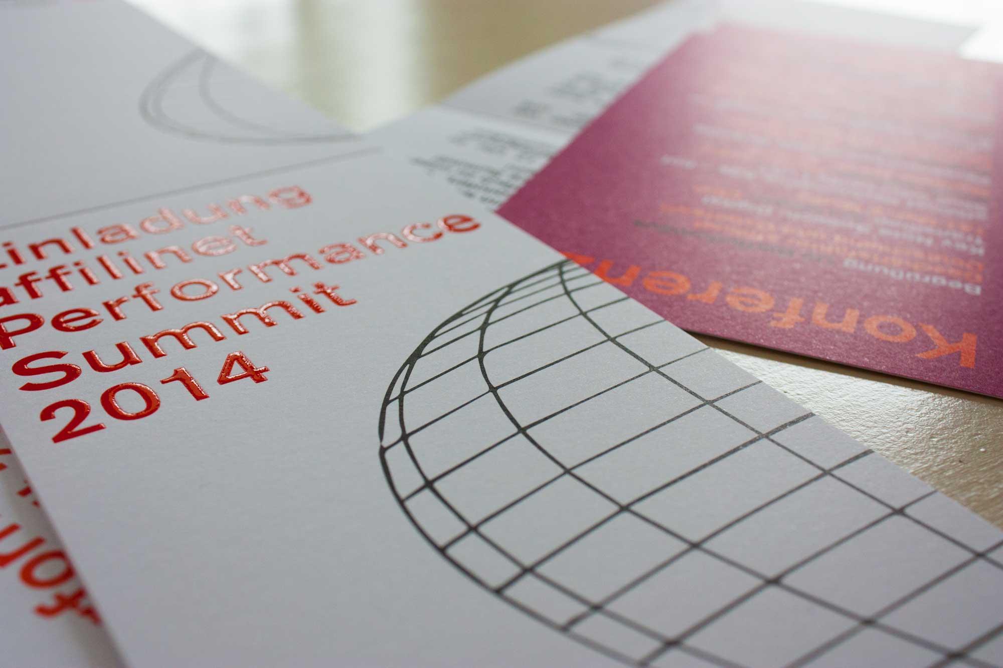 """Einladung und Agenda """"affilinet Performance Summit 2014"""" mit partiellem UV-Lack"""