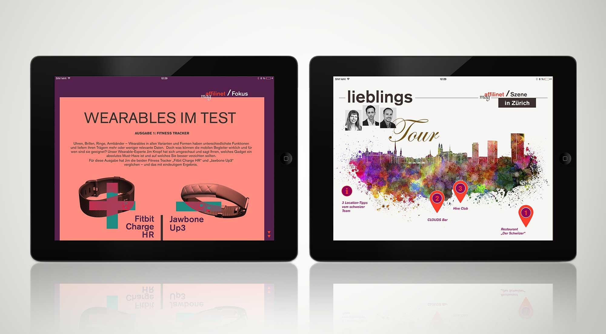 "Beispielscreens der iPad-App ""affilinet mag"""