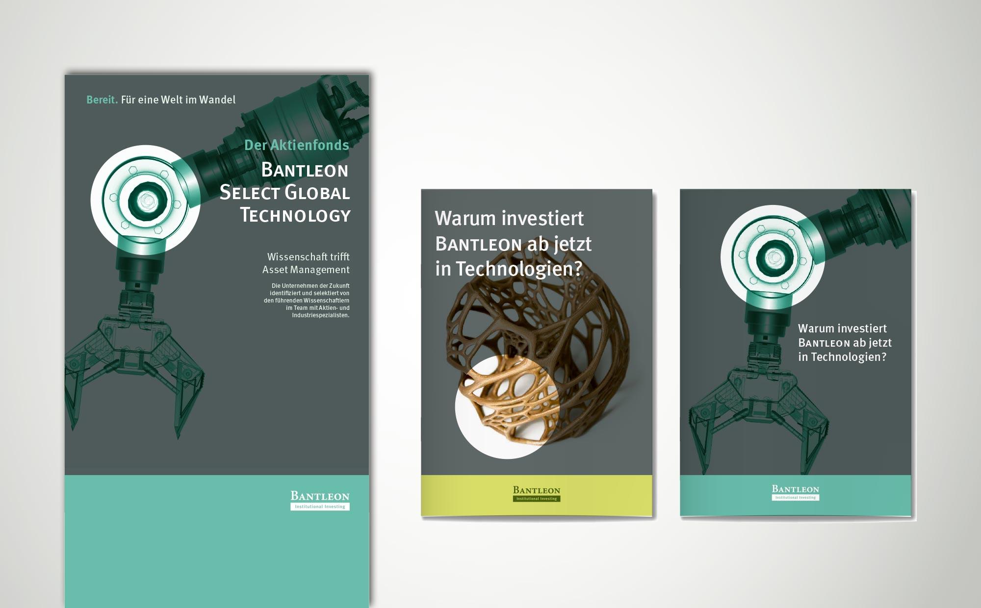 Gestaltungsvorschlag Broschuere und Messewand Technologiefonds Bantleon AG
