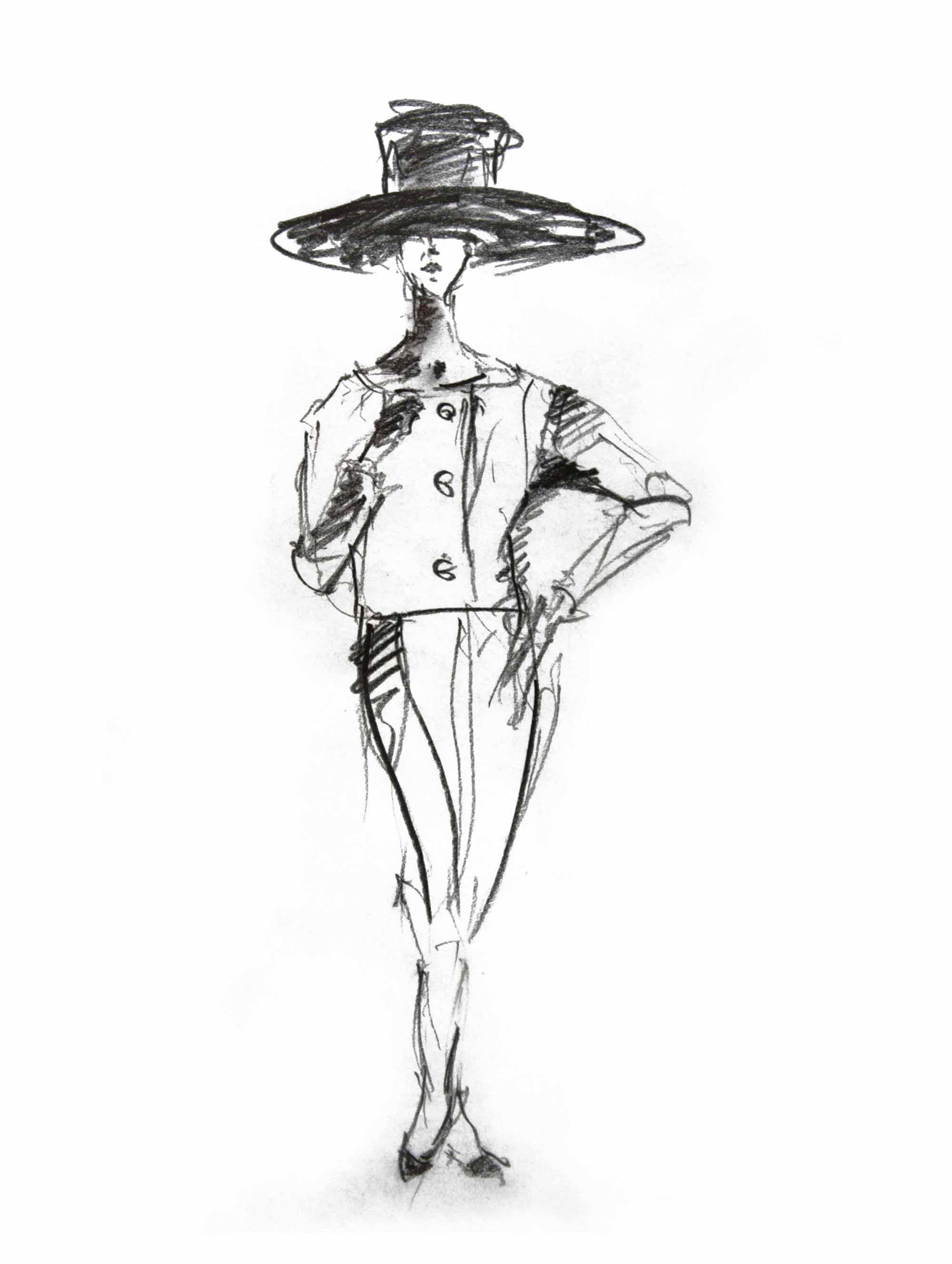 Bleistiftzeichnung Model mit großem Hut
