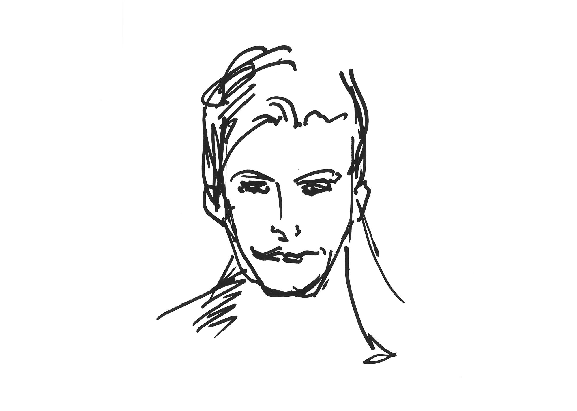 Skizze junger Mann, Marker
