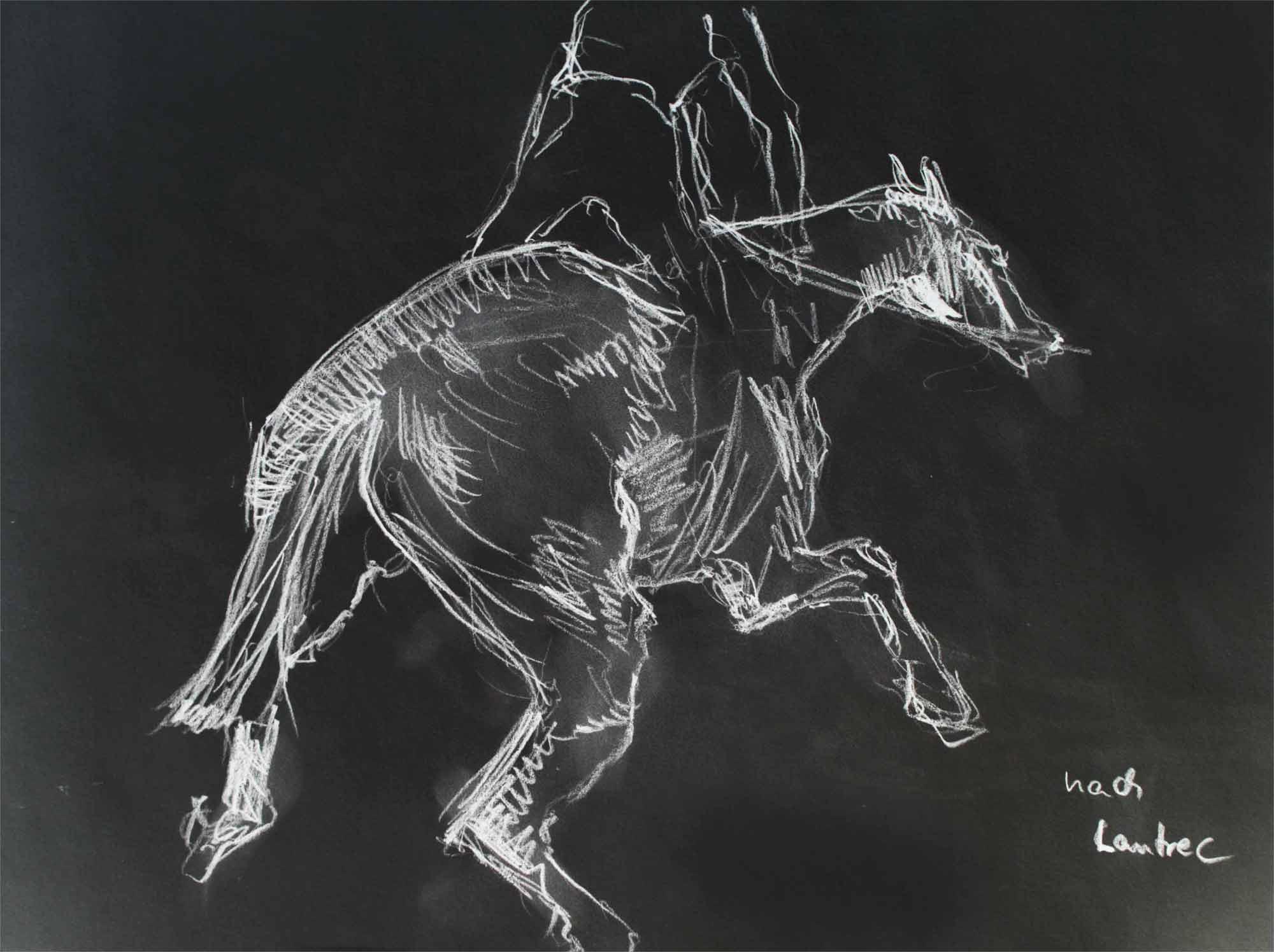 Reiter, Bleistiftzeichnung nach Henri de Toulouse-Lautrec