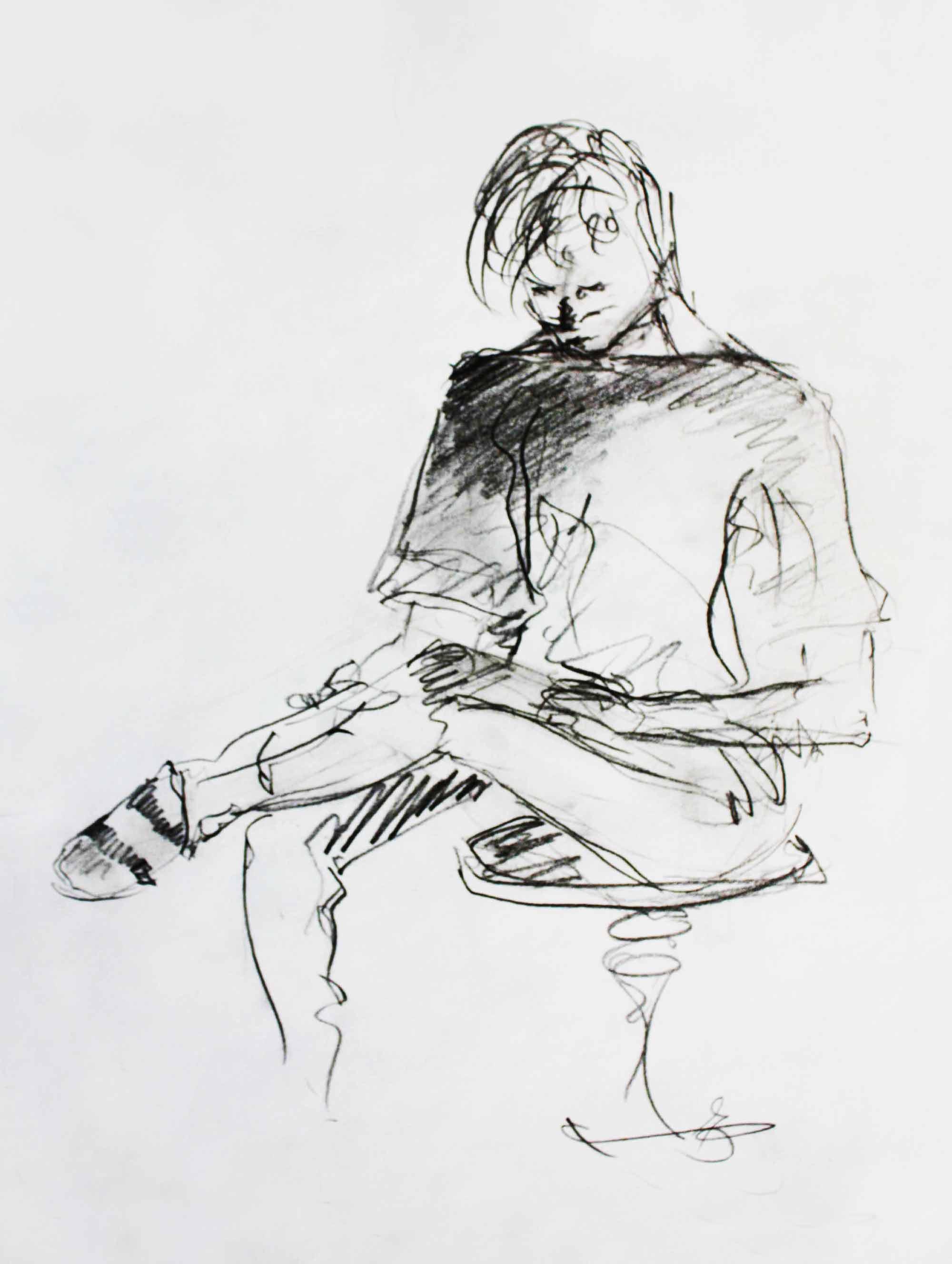 Sitzender junger Mann, Bleistiftzeichnung