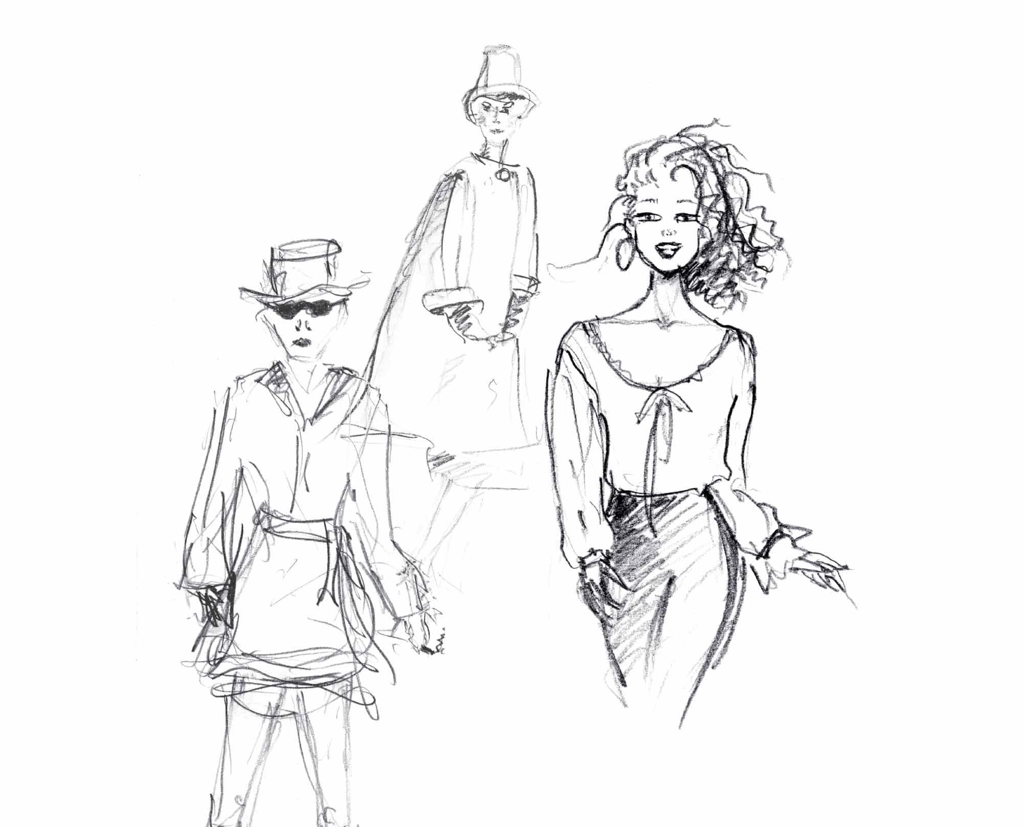 Modezeichnung Bleistift, 3 Models