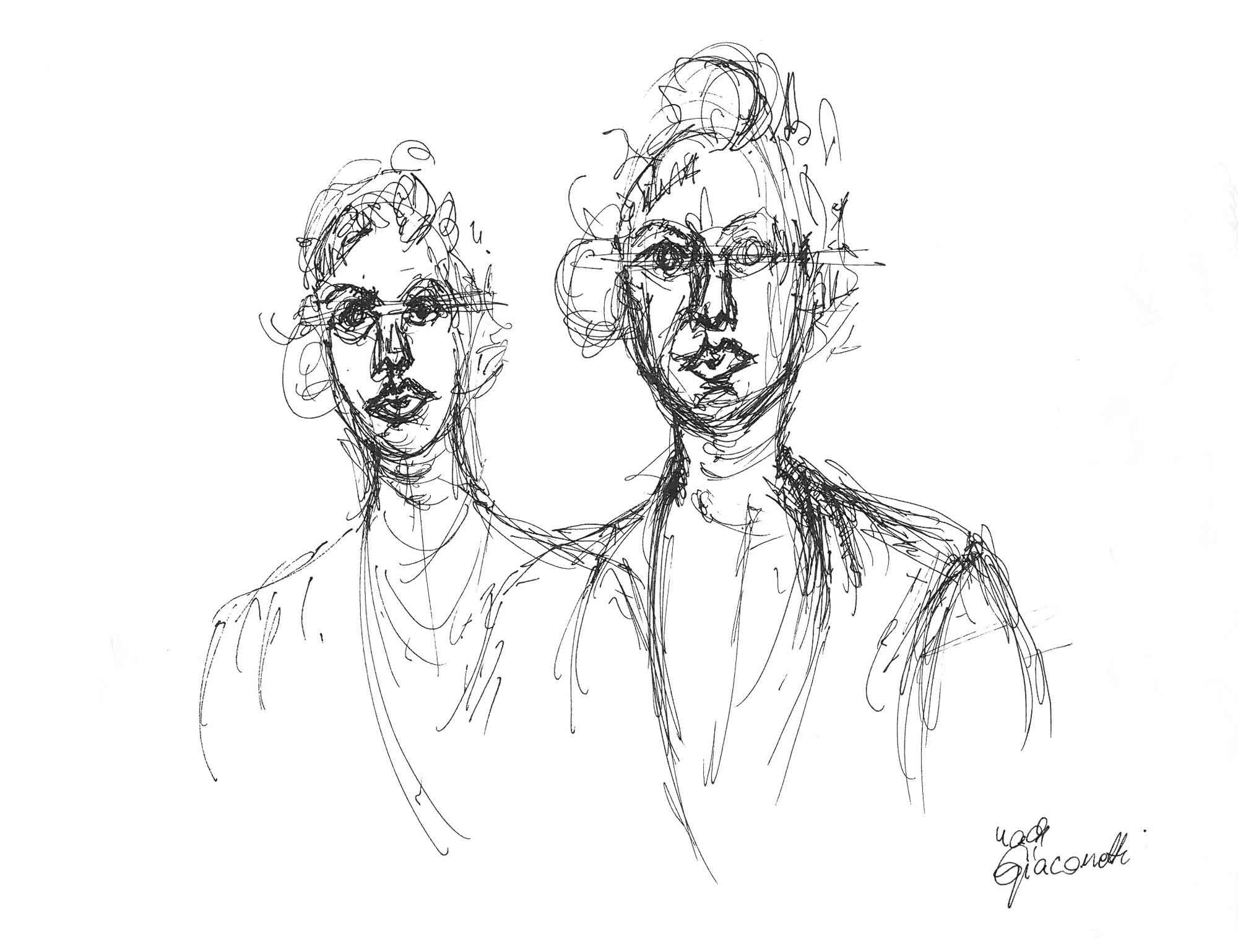 Portraitstudie, Tinte, nach Giacometti
