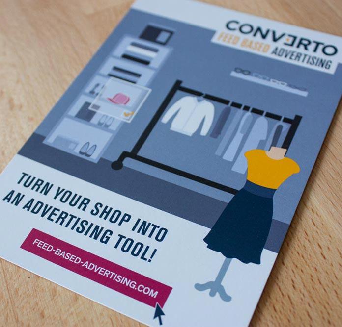 Werbepostkarte Feed Based Advertising Converto
