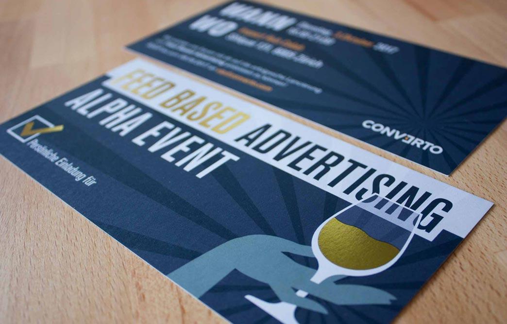 Einladungskarte zu einem VIP Event mit Heissfolienpraegung Gold