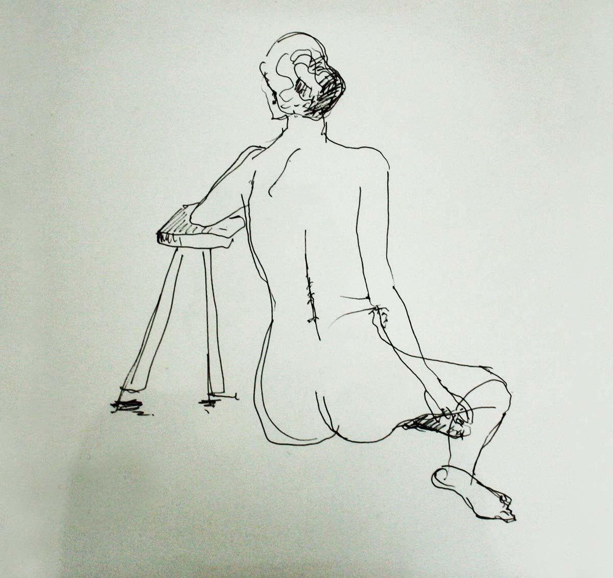 weiblicher Akt von hinten, Tinte