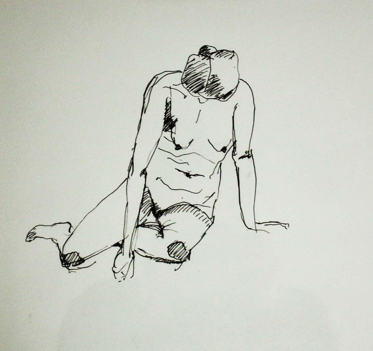 weiblicher Akt, aufgestützt, Tinte